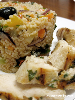 Couscous salad with grilled chicken breast