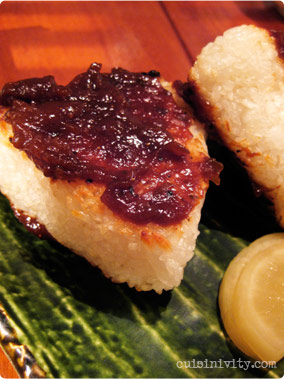grilled rice ball with miso
