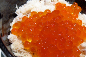 salmon roe and cod frakes