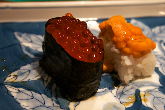 ikura and uni sushi