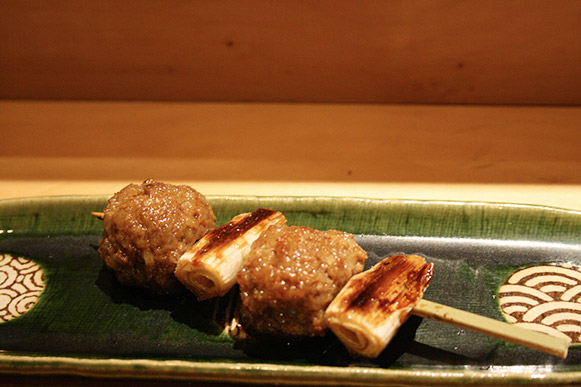 tsukune (chicken ball) with Japanese leek