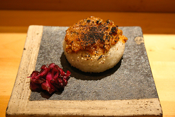 Grilled rice ball with miso glazing