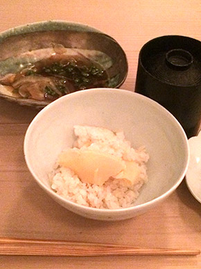 Rice with bamboo shoot, miso soup, pickles
