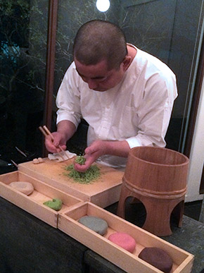 Japanese pastry chef is making wagashi