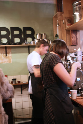 Brother Baba Budan, making latte art