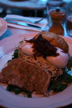 Hardware Societe, poached eggs with country pate, celeriac remoulade, beetroot relish on brioche bun