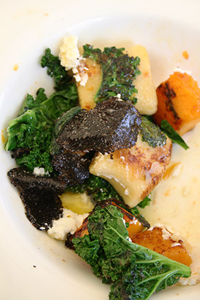 potato gnocchi with kale, butternut squash and black truffle