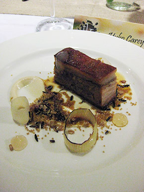 Saddleback suckling pig from Susan Ronks farm, celeriac, toasted grains and truffle by Aaron Carr