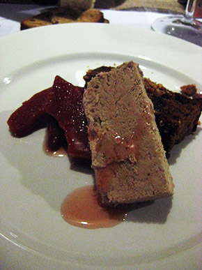 Chestnut and hazelnut cake, brown sugar parfait and poached quince by Sophie Zalokar