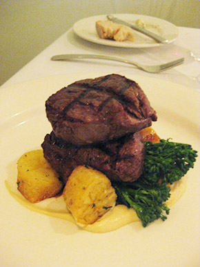 char grilled Dardanup beef (with sarladaise potatoes, cauliflower, broccolini and veal jus)