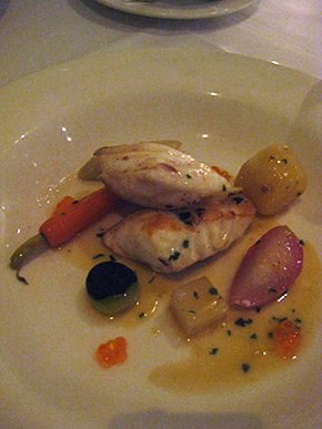 grilled dhufish (with vegetables nage and salmon caviar)
