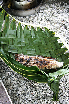 grilled fish in the coconut leave basket, Bikirin Island, The Marshall Islands
