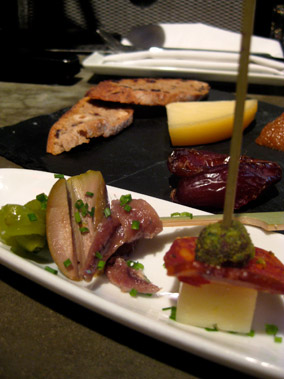 Pinto Gilda Anchovy, Olive and Piparra, Chorizo, Manchego and Pistachio crusted quince, Mahon cheese