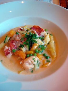 Butter poached maine lobster papardelle
