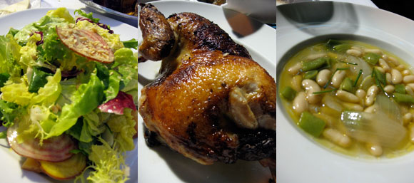 Palena's cafe salad, roast chicken and side beans
