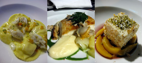 Palena's sweet ravioli, strip bass and sheep cheese cake