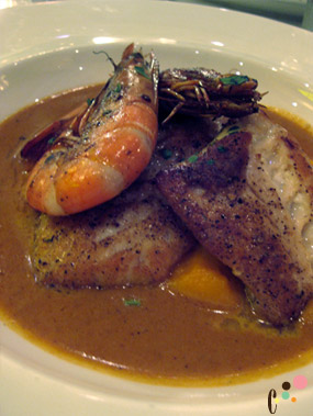 Vin Rouge Special, triggerfish with curried butternut squash pure and green tail shrimp