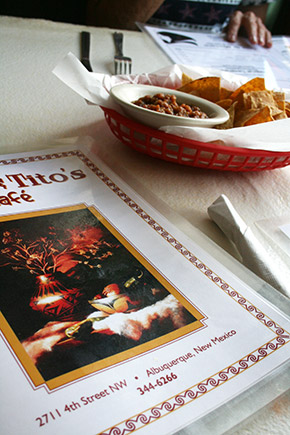 Mary and Tito's menu and chips and salsa