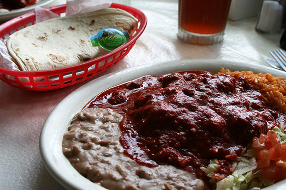 Mary and Tito's Carne Adobada Enchilada Plate