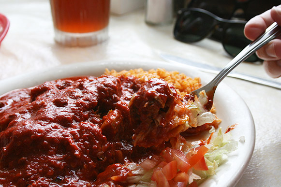 Mary and Tito's Carne Adobada Enchilada Plate Close up