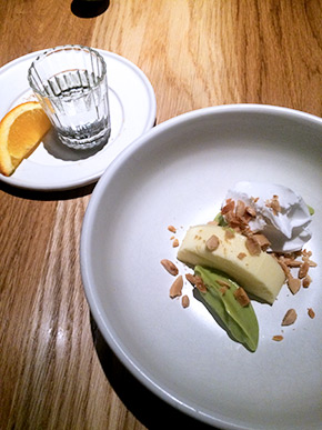 Lemon mousse, avocado, coconut sorbet, marcona almond