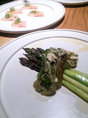 Purple asparagus, white eggplant, and green almond salsa