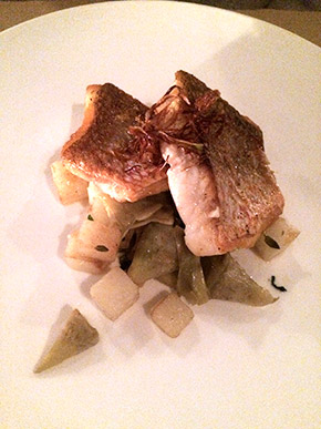 red snapper with baby artichokes, potatoes and lemon