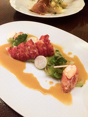 Lobster salad with avocado, fava beans, and jicama