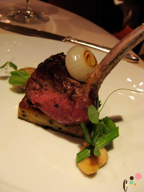 Rack of Shenandoah Valley lamb with wild mushroom-bone marrow pain perdu  and Romanian red garlic