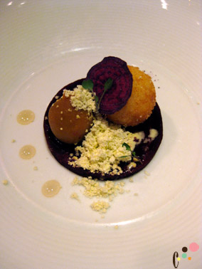 Heirloom beets with honey-ricotta croutons and pistachio powder