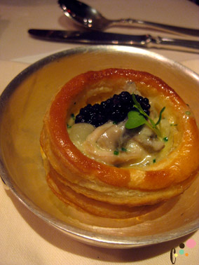 """""""OOO"""" - oysters, ostera caviar and onions in puff pastry"""