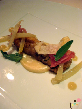 Roasted skate wing with cured ham, salsify, caramelized onion and fresh sage