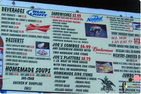 Savannah Joe's BBQ menu