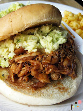 Savannah Joe's pulled chicken sandwitch combo