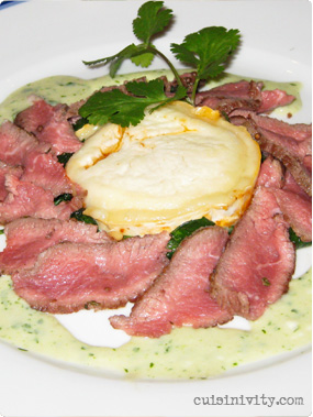 Lamb flavored with cilantro, tomato and goat's cheese tian, garlic and yogurt sauce