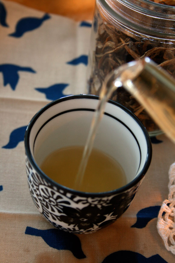 pouring burdock root tea