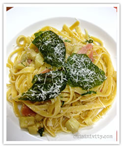 artichoke harts and pancetta linguini with crispy basil