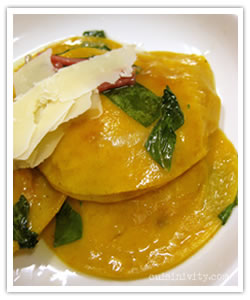 Red Pepper and Pancetta Ravioli with Rainbow Chard Sauce