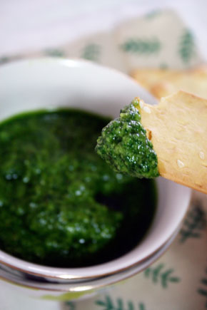 Pesto genovese. dip with cracker
