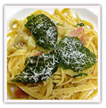 Artichoke heart and prochutto linguini with crispy basil