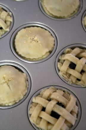 mini blueberry pie before baked