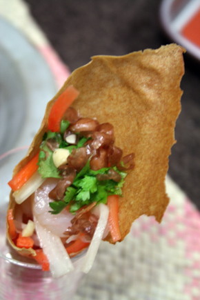 Vietnamese style salad in cone