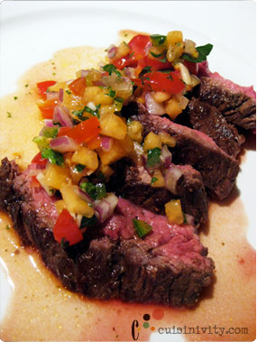 Chocolate marinade skirt steak with cantalloupe salsa